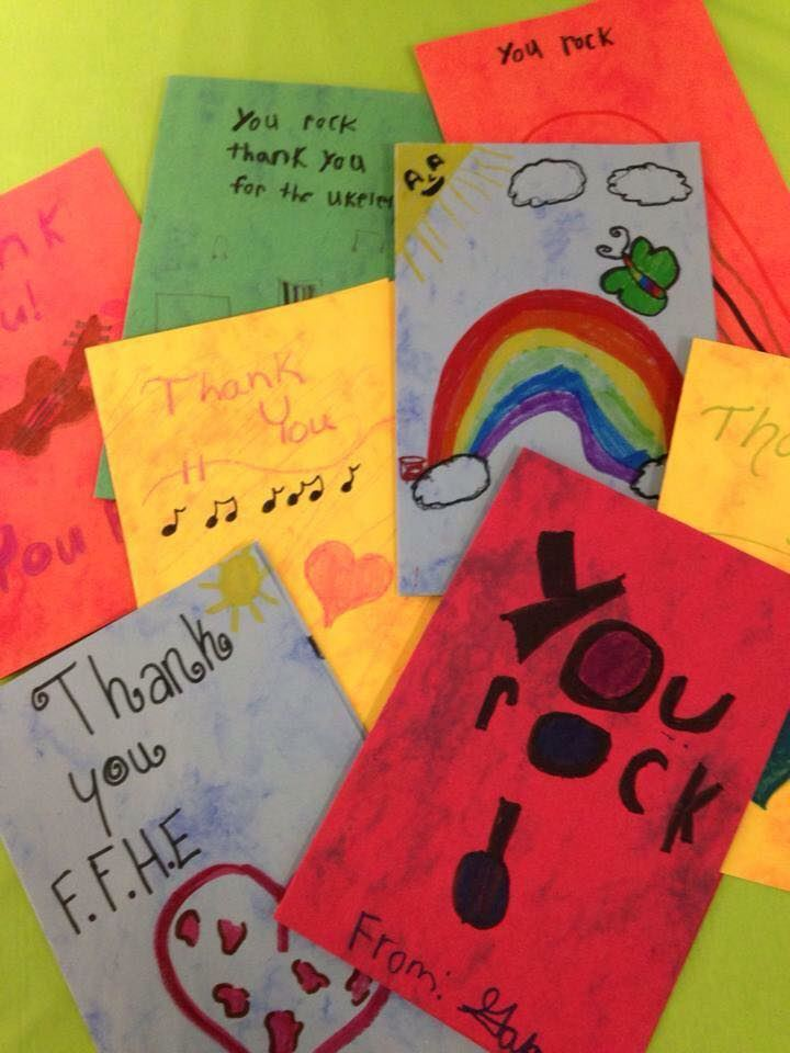picture of thank you cards created by students of Farmington Public Schools